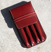 Leather 4 Pen Case Egyptian Red
