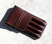 Leather 4 Pen Case Chocolate Brown