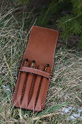 Leather 4 Pen Case Sienna Brown