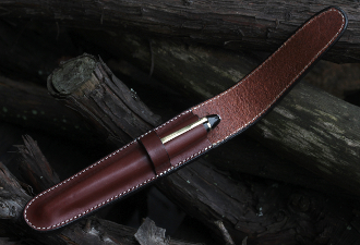 Vegetable Dyed Leather one-pen case. Available in four colors: Egyptian Red, Sienna, Chestnut, and Black. Made In The U.S.A.