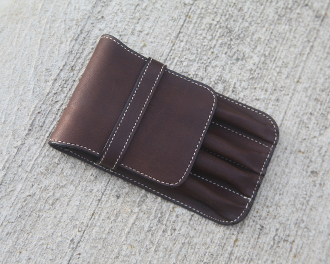 Distressed Brown 4 Pen case